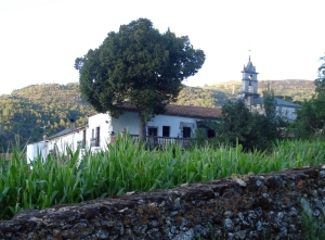 Vista del Pazo de Oumoso desde la pradera por la que se accede a la fuente del palacete.